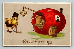 C. 1910 Anthropomorphic Chick Top Hat Eastern Orthodox Brewery Easter Postcard