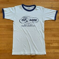 70s Vintage Sperry Top-sider Boat Shoes Ringer Tee T-shirt Men Sz Xs Hanes Tag