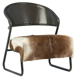 24 W Leather Occasional Chair Black Iron Tube Frame Full Grain Leather Modern
