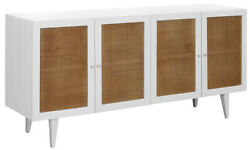 70 L Jacob Sideboard Modern White Solid Wood Cabinetry Natural Rattan Doors