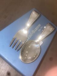Reed And Barton Spoon Fork Baby Feeding Set Curved Handle