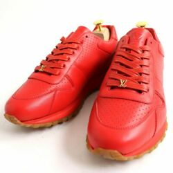 Pre-owned Authentic Louis Vuitton Men's Sneakers Leather 7 Red Height 11.2 Cm