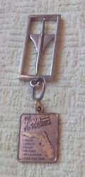 Vintage 60s Twa Airlines Fly To Florida Return Mail Key Ring Metal Keychain