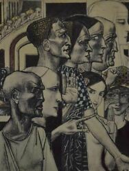 Unusual Theatrical Drawing Of Faces Dated 1922 - Pen And Ink 12½ X 14¼