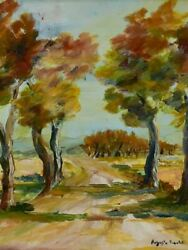 Antique French Painting Of A Country Road In Provence - Oil On Board. A. Raure
