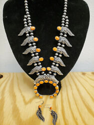 Native American Sterling Silver Spiny Oyster Bead Necklace + Earring