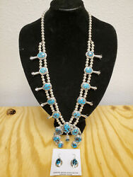 Native American Sterling Silver Squash Blossom Turquoise Necklace + Earring