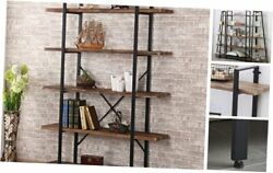 5-shelf Industrial Style Bookcase And Shelves Free Standing Storage 5-shelf