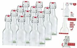 16 Ounce Clear Swing Top Glass Beer Bottles For Home Brewing - Clear 12 Pack