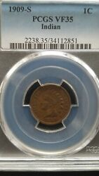 1909-s Indian Head Cent Pcgs Vf35 Lowest Mintage Indian Head Cent Of 309,000