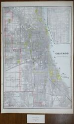 Vintage 1900 Chicago Illinois Map 14x22 Old Antique Columbian Exposition