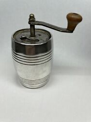 Sterling Silver Antique Barrel Pepper Mill Made In Italy Trap Door Top W/ Handle
