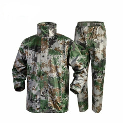 Adjustable Shrink Buttons Hood Impermeable Raincoats For Adults Camouflage Print