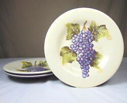 Tabletops Unlimited Grapes Pattern Melamine 8.5 Plates Set Of 3