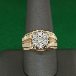 Big Heavy 14k Yellow Gold Mens Round 1 Ct Diamond Cluster Grooved Band Ring 10.5