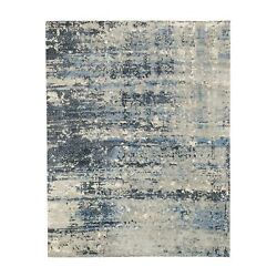 8and039x9and03910 Abstract With Mosaic Design Wool-silk Hand Knotted Oriental Rug R62031