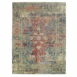 9and039x11and03910 Colorful Erased Farsian Design Wool-pure Silk Hand Knotted Rug R62103