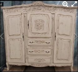 Shabby Chic French Provincial Antique Styled Armoire Double Wardrobe And Dresser.