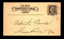 1876 Phil And Reading Rr Jonestown Rpo Card / Towle Unlisted - L23559
