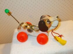 Vintage Wood Fisher Price Pull Toy Little Snoopy Beagle Dog W/bone 693 7.5 Long