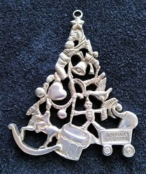 Gorham Silver Plate Christmas Tree Shaped Ornament 1986 Beautiful Condition