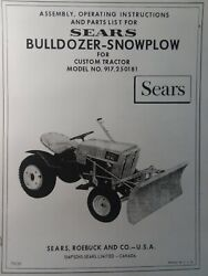 Sears Custom Garden Tractor Dozer Push Plow Owner And Parts Manual 917.250181 10xl