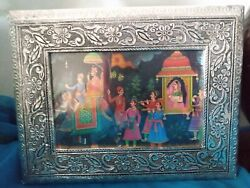 Vintage India Tin Metal Embossed Jewelry Treasure Box With Picture