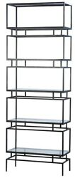 87 T Remolds Bookcase Modern Brushed Black Iron Frame With Glass Shelves