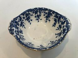 Antique Crown Ducal England Blue And White Soup Bowl, Ivy Pattern, 6 X 5 1/4