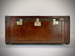 Antique Carriage Or Early Motor Car Trunk. Vintage Leather Travel Luggage