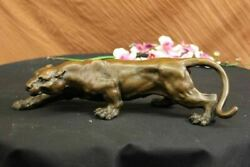 Real Bronze Barye Cougar Panther Mountain Lion Statue Sculpture Statue Hot Cast