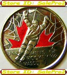 2x Canada 2009 Olympic Menand039s Hockey 25 Cent And0392and039 Color And Non-colorized Coin Lot
