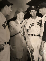 Cy Young Original Wire Photo 1951 With Ted Williams -historical And Extremely Rare