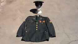 Vietnam War Era 1960 Us Army Dress Uniform Jacket With Insignia And Patches And Hat
