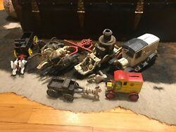 Great Find Lot Of Beautiful Antique Cast Iron Horses Wagons, Goat , Coca Cola