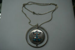 Zuni - F.l. Natachu Sterling Silver And Inlay 2 Sided Spinner Pendant W/ Necklace