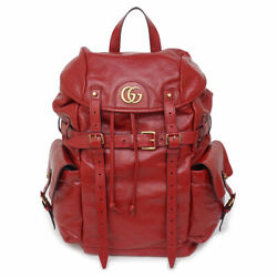 Pre-owned 526908 Re Belle Tiger Cat Head Backpack Red Calf Leather F/s