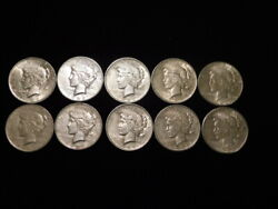 1923 P-d-s Peace Silver Dollars 1/2 Roll 10 Coins Xf+ - Au L1