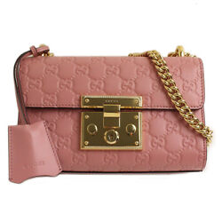 Pre-owned 409487 Shima Small Chain Shoulder Bag Pink Leather Free Shipping