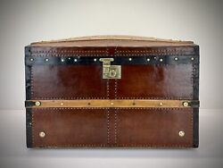Vintage Steamer Dome Top Trunk. Antique Leather Travel Luggage
