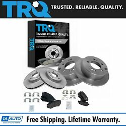 Trq Front And Rear Brake Rotor And Ceramic Pad Kit W/chemicals For Kia Forte Soul