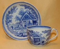 Staffordshire Thatched Cottage Blue And White Miniature Toy Cup And Saucer C1810