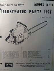 Mcculloch Chain Saw Bp-1 Parts Catalog Manual 2-cycle Gasoline Chainsaw Jan 1962