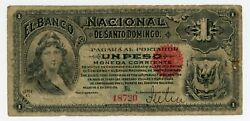 Dominican Republic ... P-s131r ... 1 Peso .. Nd 1889  F Signed Remainder.