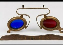 Antique Opticianand039s Spectacles Hanging Cast Iron/zinc Trade Sign Plus Wood Sign