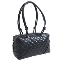 Cambon Line Bowling Hand Bag 9906918 Purse Black Leather Auth 38686