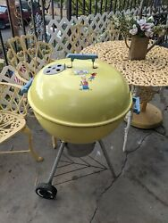 Vintage Weber Grill Yellow Simpsons Extremely Rare Full Size