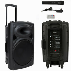 12 Professional Power Active Dj Pa Speaker Bluetooth Usb Remote With Microphone