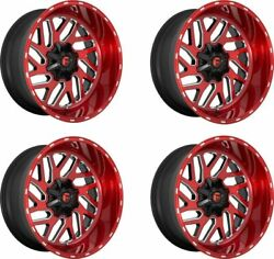 Set 4 20 Fuel D691 Triton 20x10 Candy Red Milled 8x6.5 Wheels -18mm Truck Rims