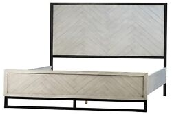 85 King Bed Antique White Finished Reclaimed Acacia Wood Black Metal Frame